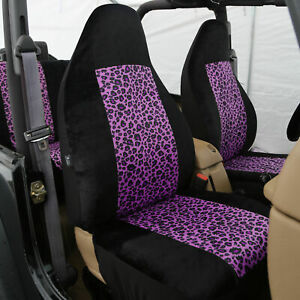 Purple Black Leopard Car Seat Covers Highback 2 Front Buckets For Auto Car Suv