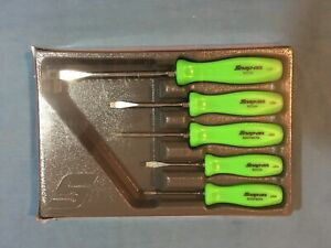 New Snap On Green Hard Handled 5 Piece Screwdriver Set Sddx50ag Sealed