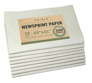 Teikis Clean Newsprint Packing Paper Unprinted 200 Sheets 10 Lbs 33 X 21