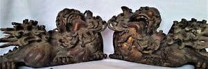Rare Find Early 1800 S Temple Foo Lions Carved Wood Old Gilt Each 15 Long