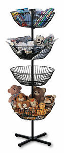 4 basket Spinner Rack And Dump Bin includes Sign Holder