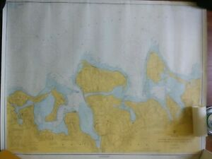 Vintage Navigational Chart Ny Oyster Huntington Bay Long Island Sound 44 X 34 5