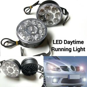 White 6000k Led Drl Daytime Running Light Driving Fog Lamp Universal For Mb C D