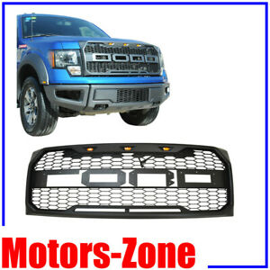 Painted Glossy Black Raptor Style For 09 14 Ford F150 Replacement Grille W 3 Led