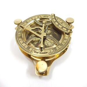 Brand New India Overseas Trading Corp Br 48342x Brass Sundial Compass Full Size