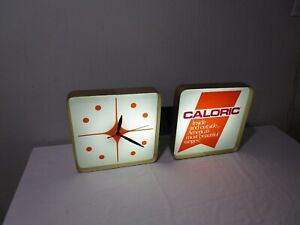 Awesome 60 S Mid Century Modern Dualite Caloric Lighted Advertising Sign Clock