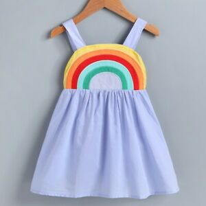 NEW Rainbow Girls Blue Sleeveless Sun Dress 2T 3T 4T 5T 6 $10.99