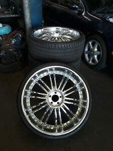 Used Tezzen Rims 24 Inch With 275 25zr24 96w Xl Tires Chrome Wheels With Lock