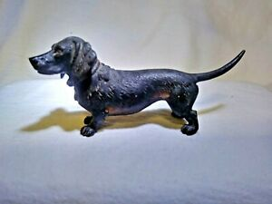 Vienna Austria Cold Painted Bronze Small Dachshund Signed With Geschutzt Stam