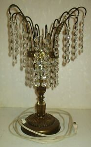 Vintage Brass And Crystals Small Desk Lamp Works