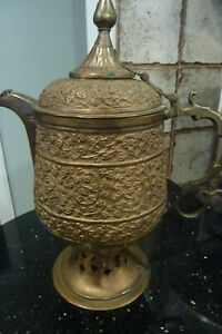 Fantastic Antique Middle Eastern Dallah Coffee Pot Copper Brass