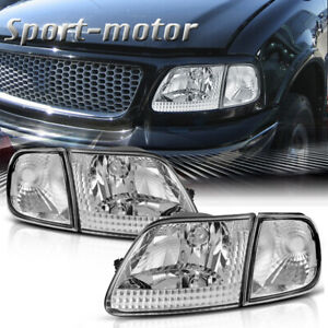 For Ford 97 03 F150 97 02 Expedition Chrome Housing Headlights W Clear Corner