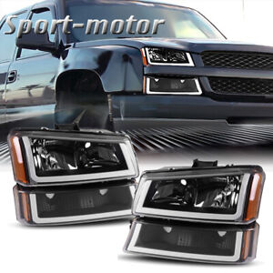 Black Housing Headlight Amber Signal Bumper Led Drl For Chevy Silverado 03 07