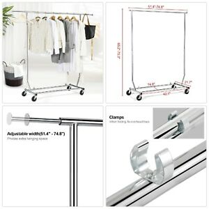 Heavy Duty Clothes Rolling Storage Rack Commercial Collapsible Garment Organizer