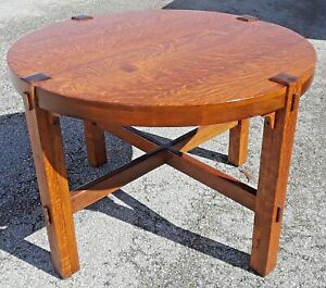 Antique Arts Crafts Mission Oak 42 Round Library Table Old Refinish