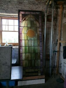Large Stained Leaded Glass Window Des Moines Ia Antique Church Room Divider Old