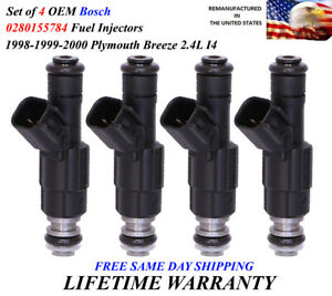 Genuine Set Of 4 Bosch Fuel Injectors For 1998 1999 2000 Plymouth Breeze 2 4l I4