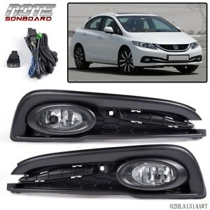 For 2013 2014 2015 Honda Civic Clear Bumper Lights Driving Fog Lamps switch