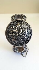 Antique Persian Arabic Sterling Silver Pin Hinged Cuff Bracelet W Prayer Box