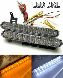 White ambe Led Drl Bumper Sequential Running Light Driving Lamp Universal Toyo