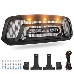 Front Grill Mesh Grille Rebel Style W led Light Fit For 2013 2018 Dodge Ram 1500