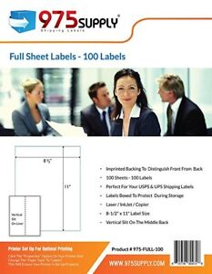 975 Supply Premium Shipping Lables Full Sheet 8 5 X 11 Inches 100 Labels pack