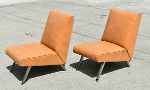 Antique Vintage Rare Art Deco Royalchrome Royal Metal Armless Lounge Club Chairs