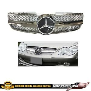 Mercedes Benz R230 03 06 Sl500 Sl600 Grille Grill Amg 1 Fin Style New Chrome New