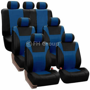 Pu Leather 3 Row 7 Seaters Seat Covers Full Set For Suv Van 3 Colors Universal