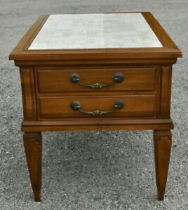 Vintage Brandt Tuscany Side Accent End Table Solid With With Stone Granite Top