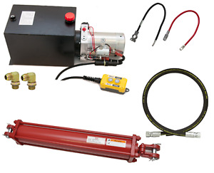 Hydraulic Dump Trailer Build Kit Power Unit Hoses Cables Choice Of Cylinder