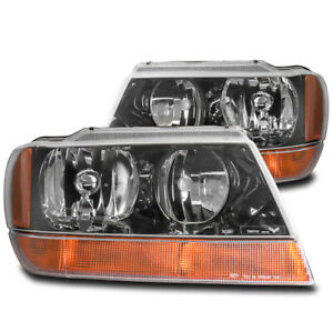 For 1999 2004 Jeep Grand Cherokee Laredo Black Amber Replacement Headlights Lamp