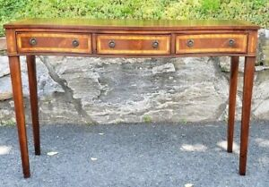 English Mahogany Inlay Serpentine Sideboard Brandy Board 3 Drawer Server Buffet
