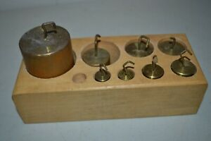Antique Laboratory Apothecary Merchant Metric Weight Set 8 Brass Weights