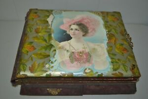 Antique Victorian Music Box Working Photo Album Celluloid Jewelry Drawer