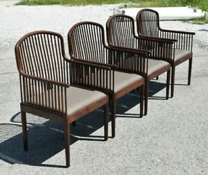 Vintage Stendig Andover Davis Allen Arm Accent Chairs Solid Wood Made In Italy