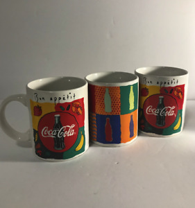 3 Coca Cola Vintage 1996 Bon Appetit Cup Coffee Mugs by Gibson