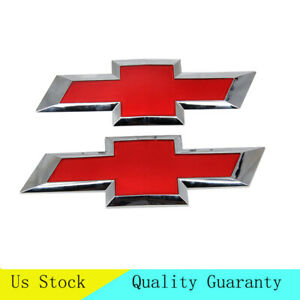 Red Front Grill Tailgate Bowtie Emblem For Chevy Silverado 1500 2500 3500 Hd