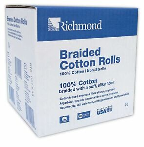 Richmond Dental Medical 201226 4 Medium Braided Cotton Roll Nonsterile