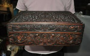 14 Chinese Huanghuali Wood Carved Lotus Jewelry Box Storage Boxes Treasure Chest