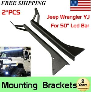 Roof Mounting Brackets For 1987 1995 Yj Jeep Wrangler 50inch Led Work Light Bar