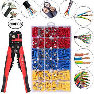 Automatic Wire Stripper Plier Cutter Crimper electrical 500pcs Crimp Connectors