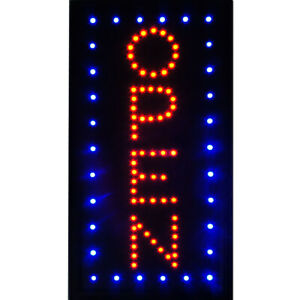 Boshen 19 x10 Vertical Led Open Business Sign Animated Neon Light On off Switch