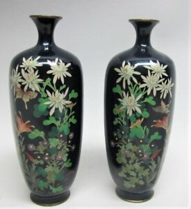 Gorgeous Pair Japanese Meiji Era Cloisonne Vases W Butterfly C 1890 Antique