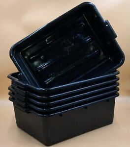 6 Pack 20 X 15 X 7 Black Polypropylene Bus Plastic Restaurant Dishwasher T