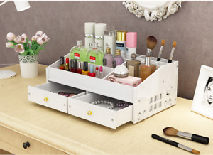 Useful Cosmetics Storage Box Desk Organizers Wood Office Home Desktop White New