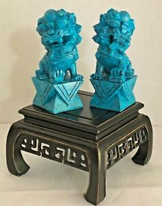 Hand Carved Solid Turquoise Foo Dogs