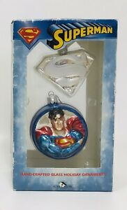 SUPERMAN Glass Ornaments hand painted 2 IN 1 Pack
