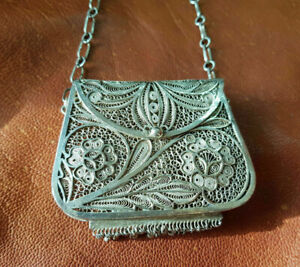 Rare Antique Chinese Export Solid Purse Silver Filigree