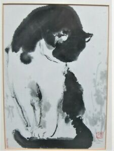 Fine Vintage Chinese Lithograph Print Of A Calico Cat Signed Chen C 2001